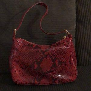 Michael Kors Red Python Embossed Shoulder Bag